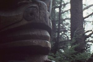 Closeup of a Tsimshian totem pole